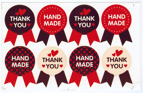 Sticker - Handmade / Thank You Badge, Red - KEY Handmade