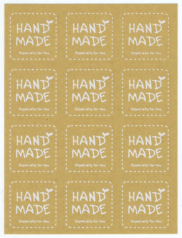 Sticker - Handmade Label, Kraft White, Square - KEY Handmade