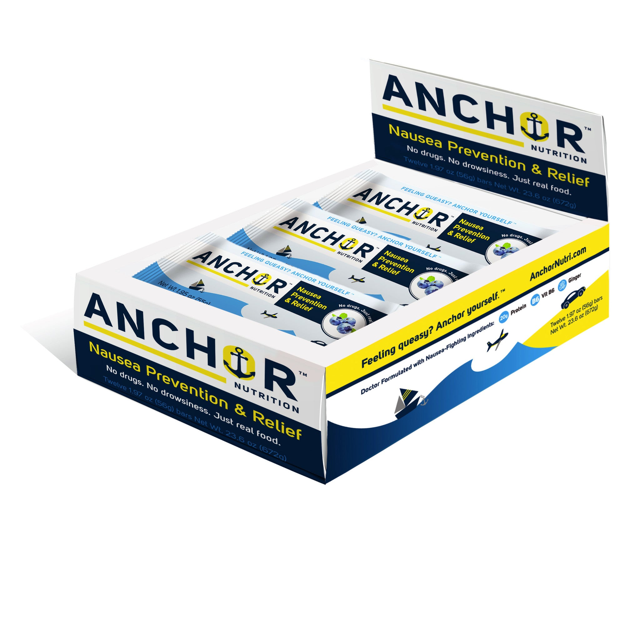 Anchor Nutrition Bar™ - Nausea-Relief Snack (Box of 12 Bars)