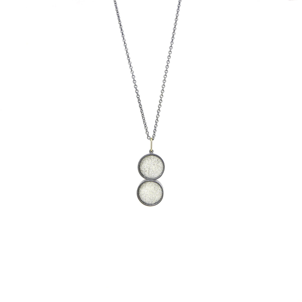 double small white silk pendant