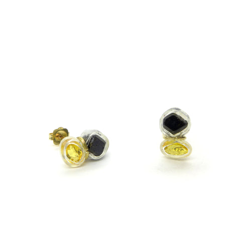 yellow sapphire and black garnet crystal stud earrings