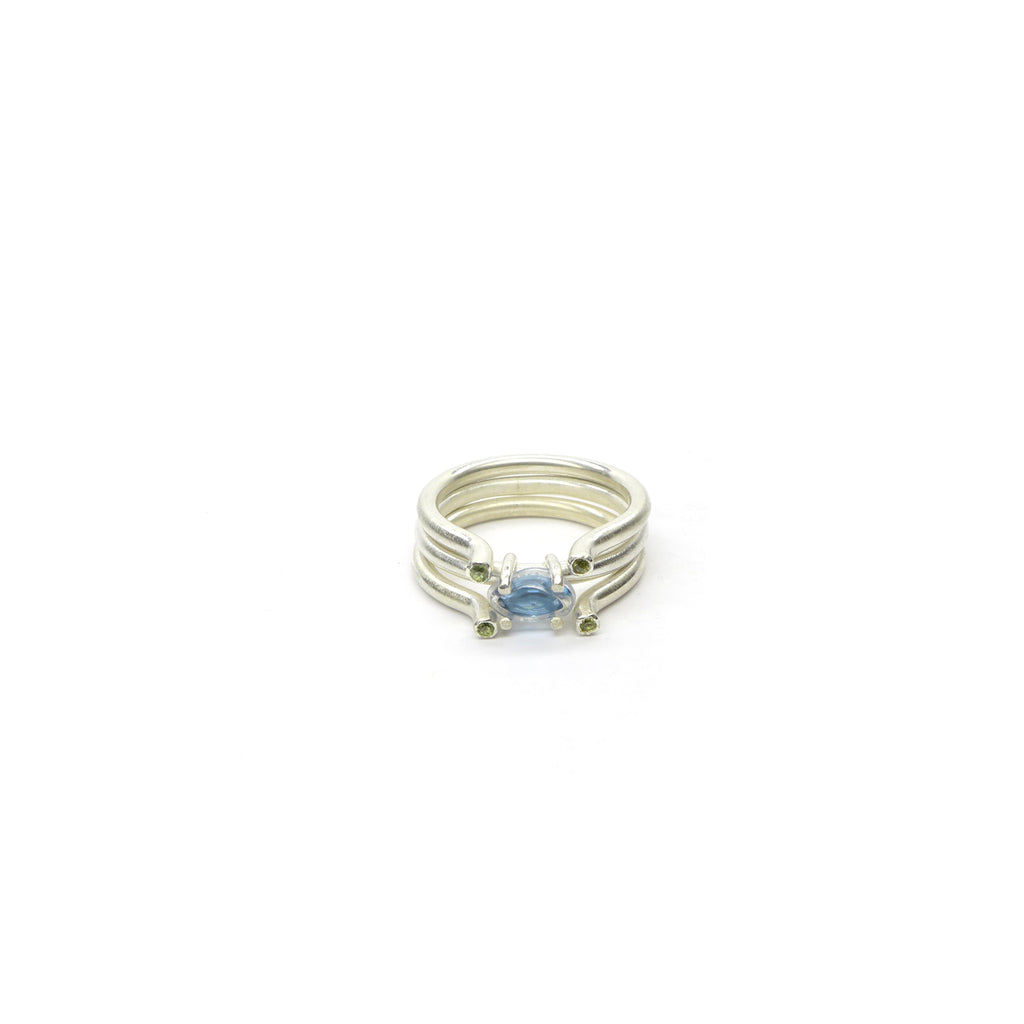 blue topaz pile ring