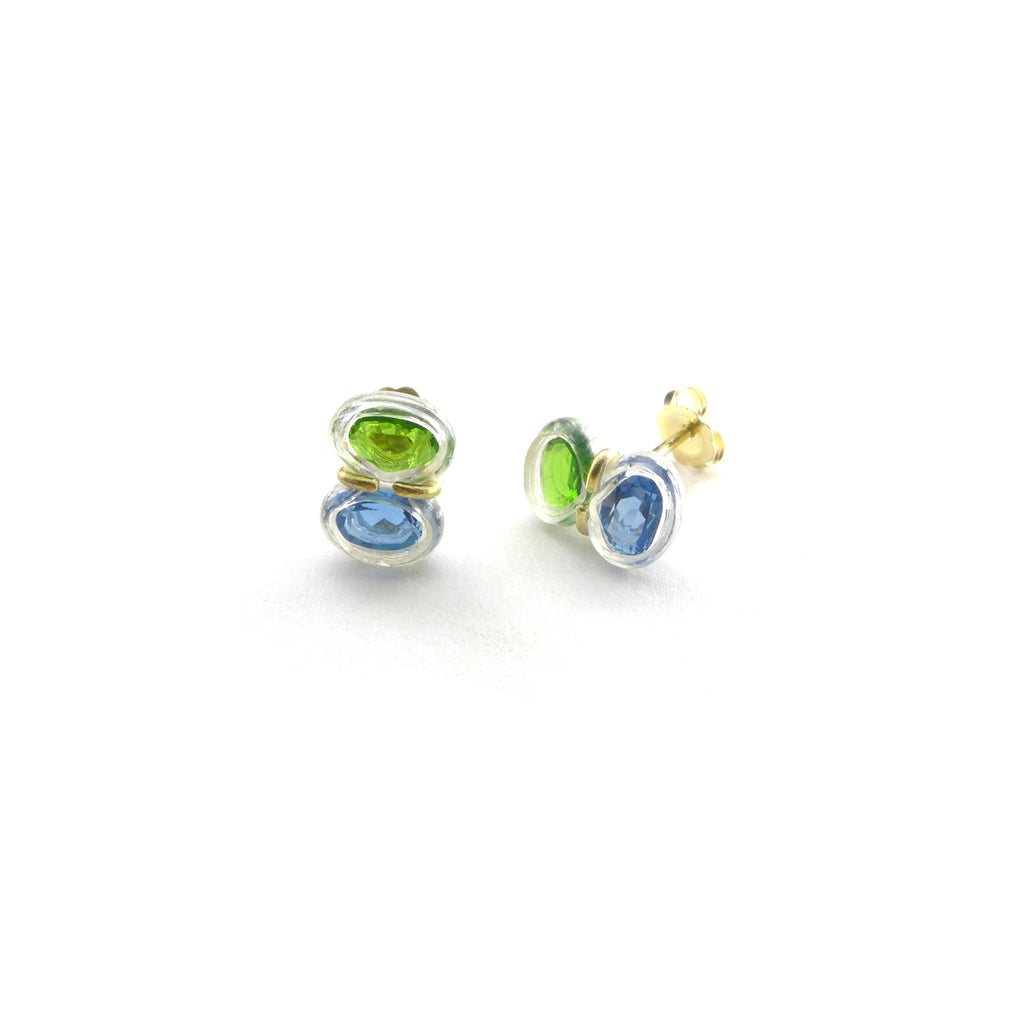 blue topaz and chrome diopside stud earrings