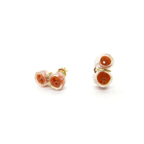 coral twin stud earrings