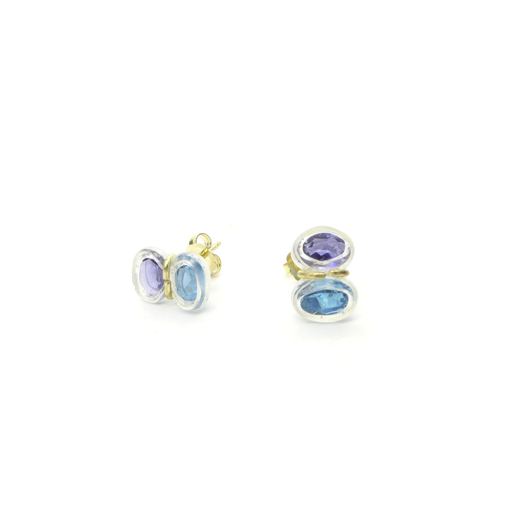 iolite and blue topaz stud earrings