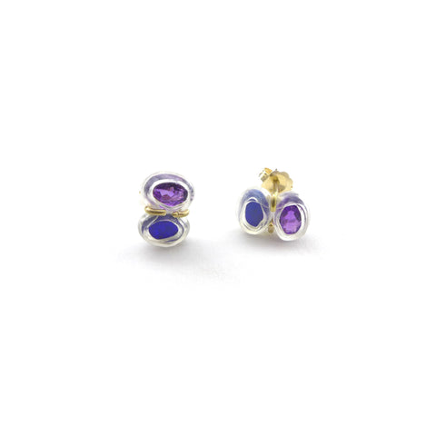 amethyst and opal stud earrings