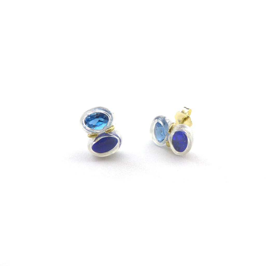 opal and blue topaz stud earrings