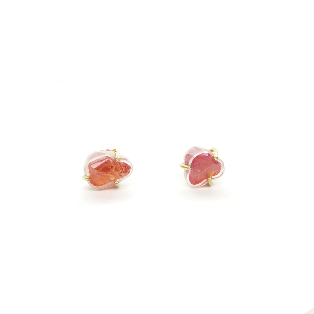 orange Chatham sapphire crystal stud earrings