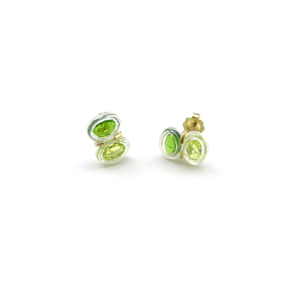peridot and chrome diopside stud earrings