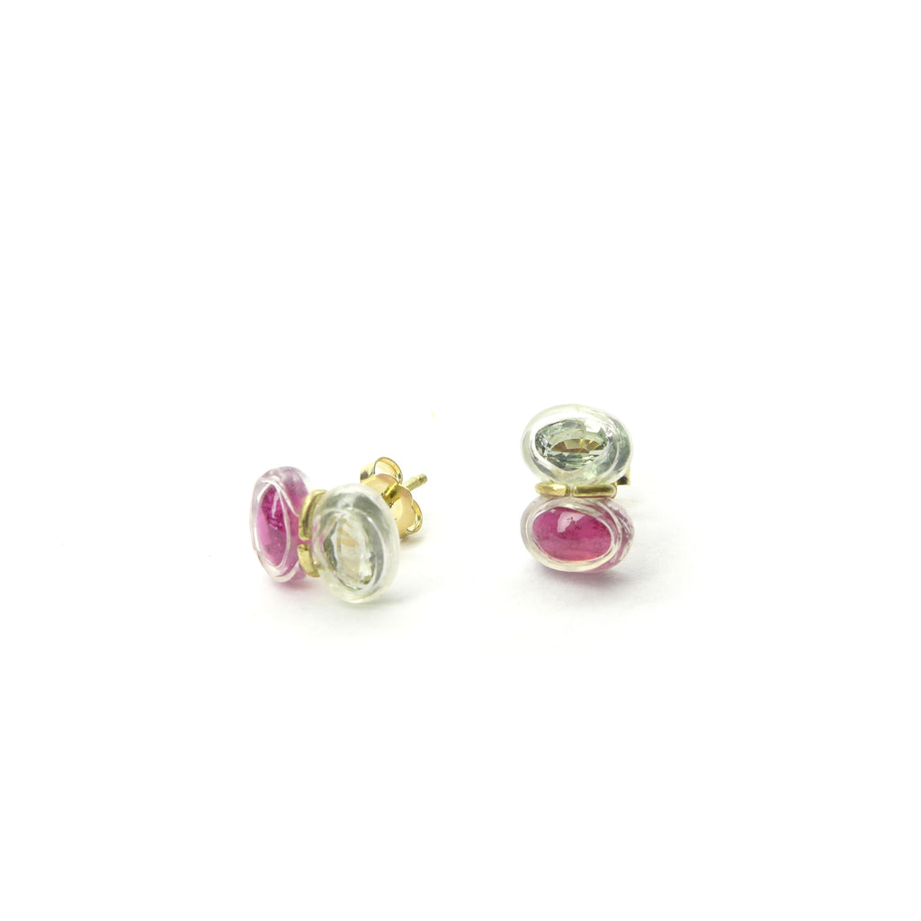 pink tourmaline and green sapphire stud earrings