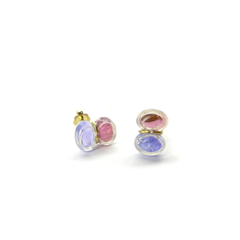pink tourmaline and tanzanite stud earrings