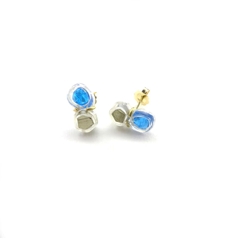 pyrite and apatite stud earrings
