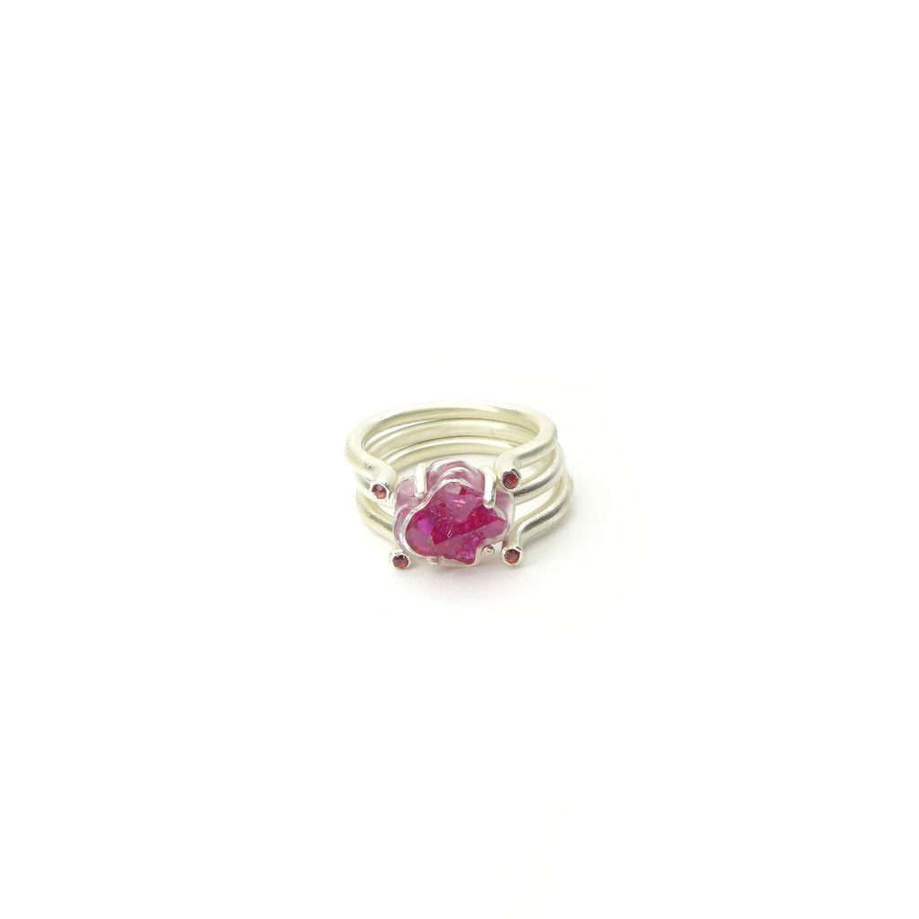 Chattham ruby crystal pile ring