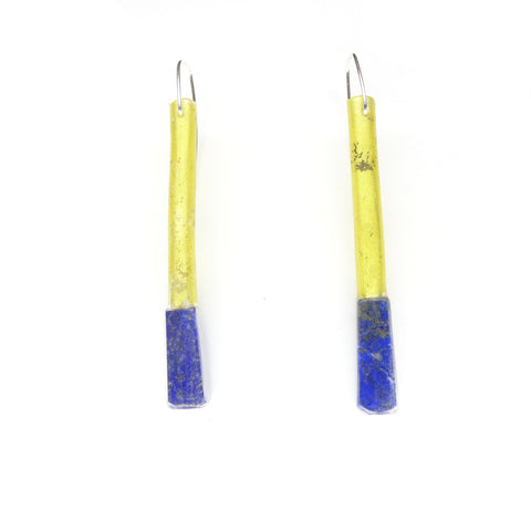 small lapis tube earrings