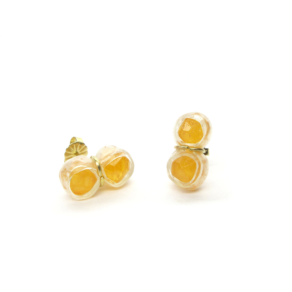 spessartite twin stud earrings