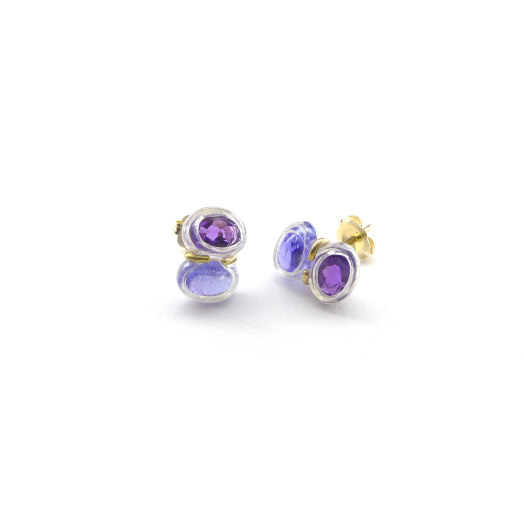 tanzanite and amethyst stud earrings
