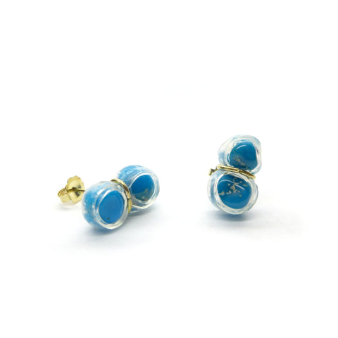 turquoise twin stud earrings