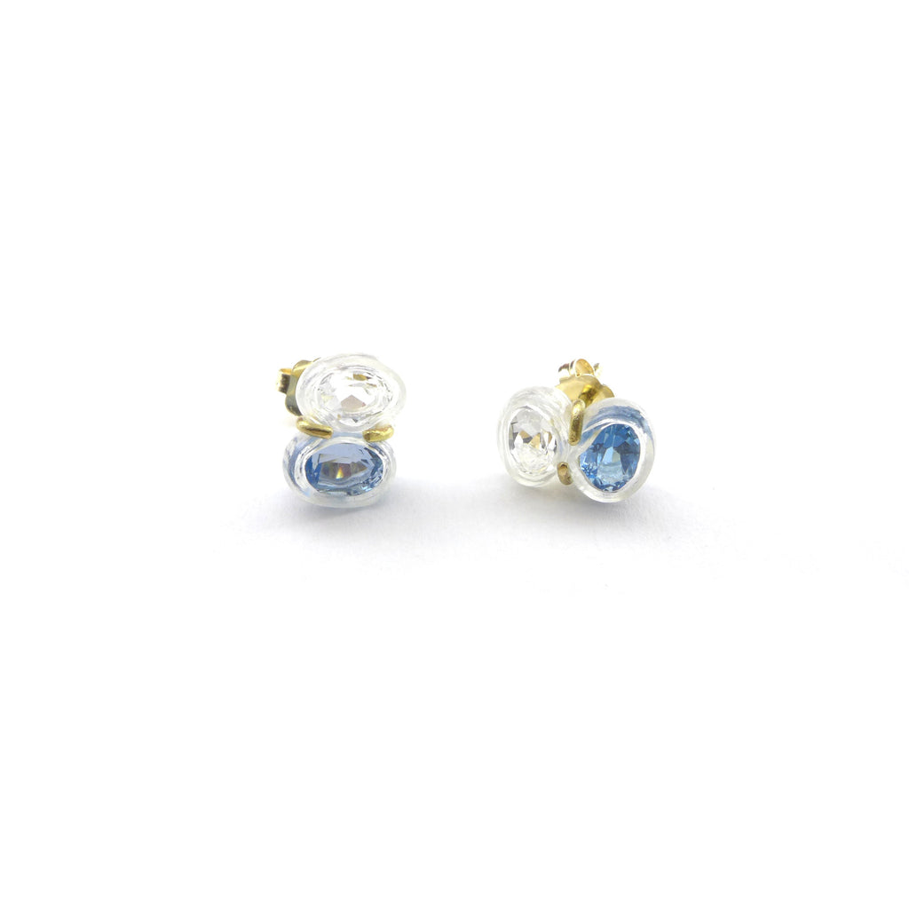 white topaz and blue topaz stud earrings