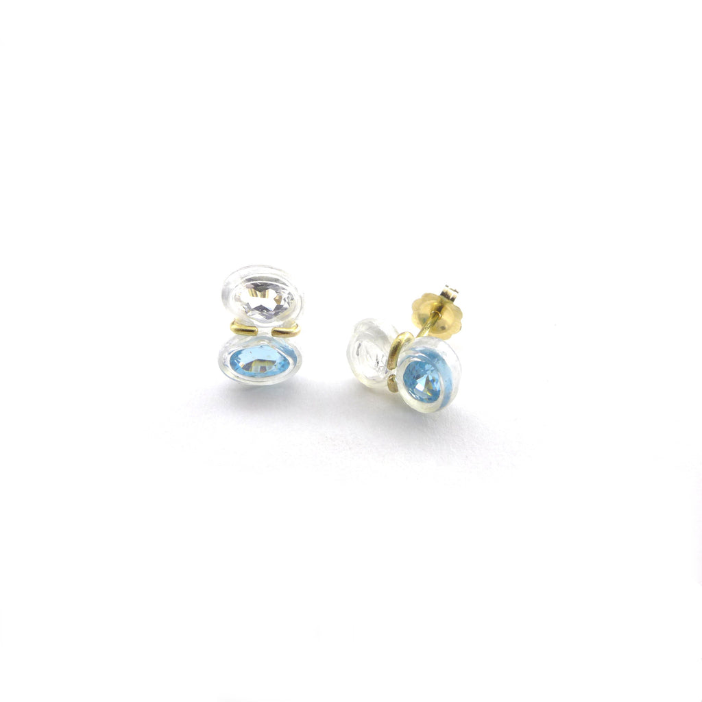 blue zircon and white topaz stud earrings