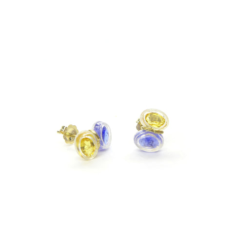 yellow sapphire and tanzanite stud earrings