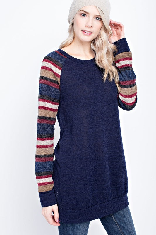 Striped Sleeve Sweater Tunic