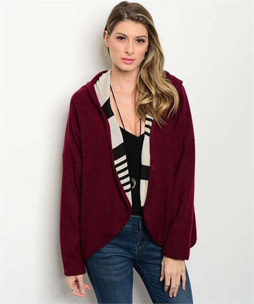 Contrast Stripe Hooded Sweater