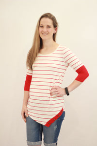 Striped Button Detail Tops