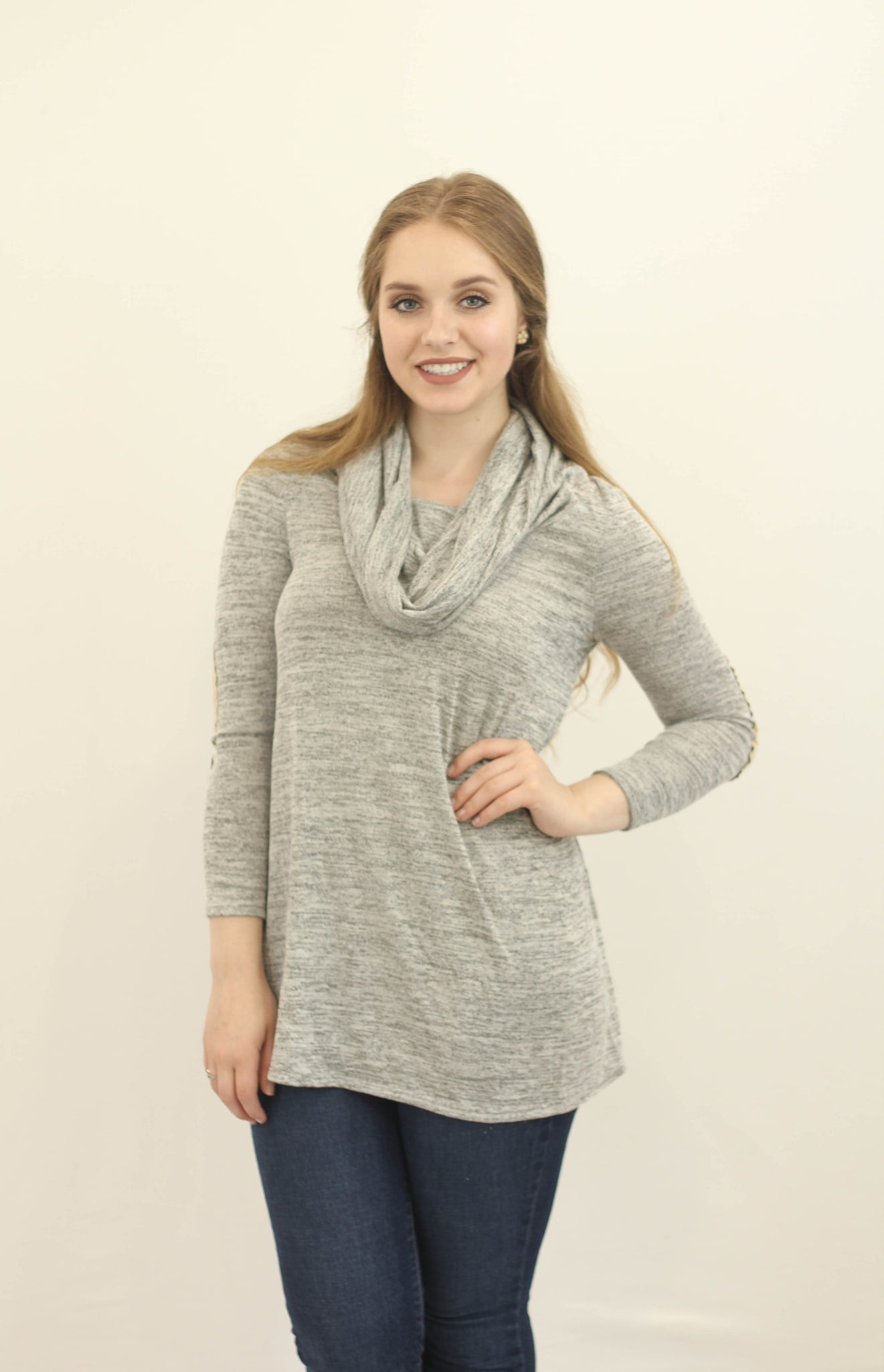 Cowl Neck Elbow Patch Sweater