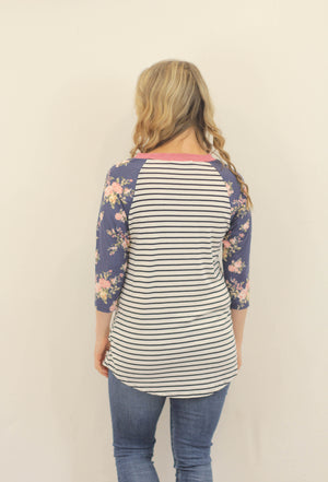Striped Floral Sleeve Top