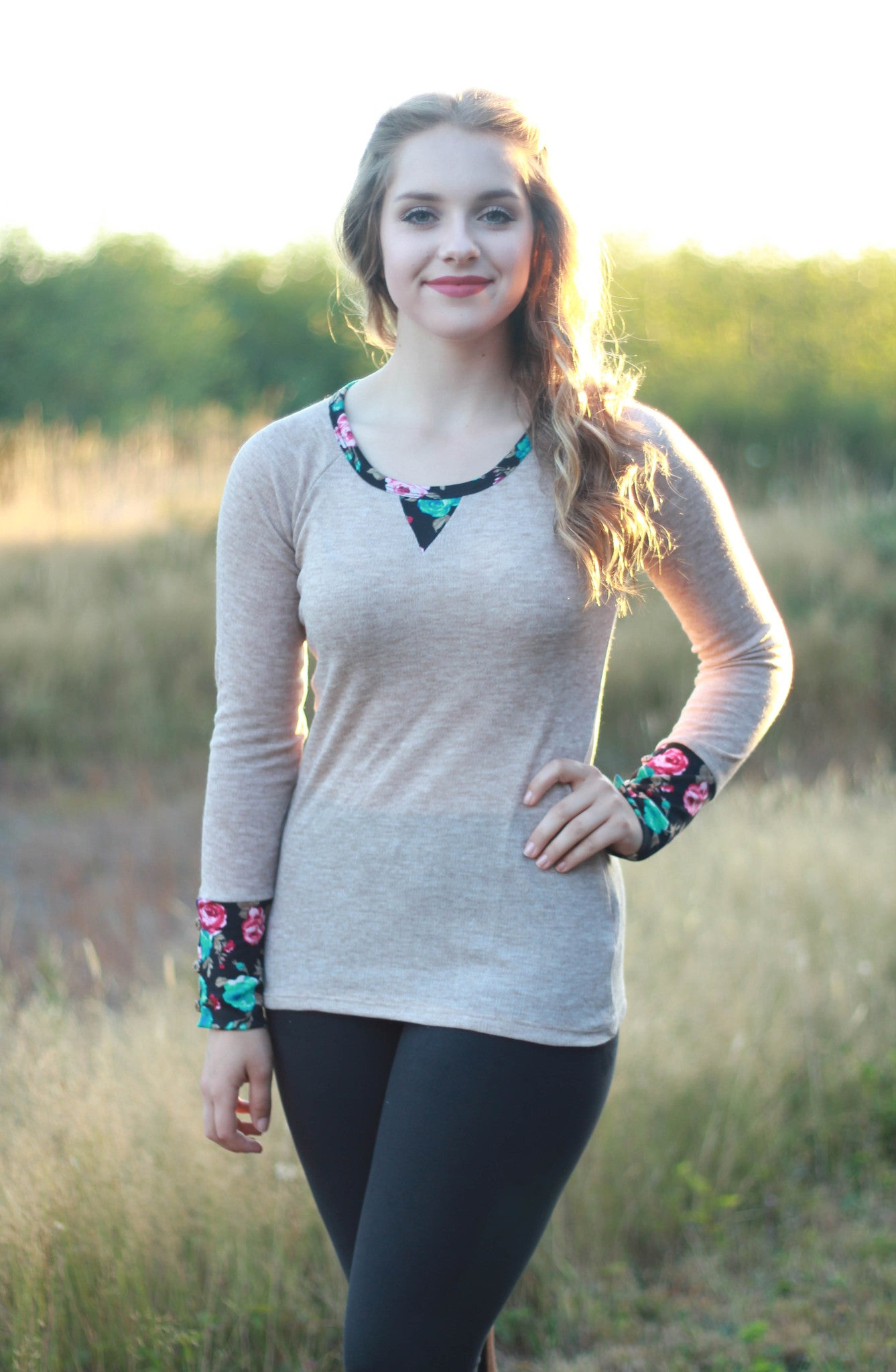 Floral Accent Sweater Top