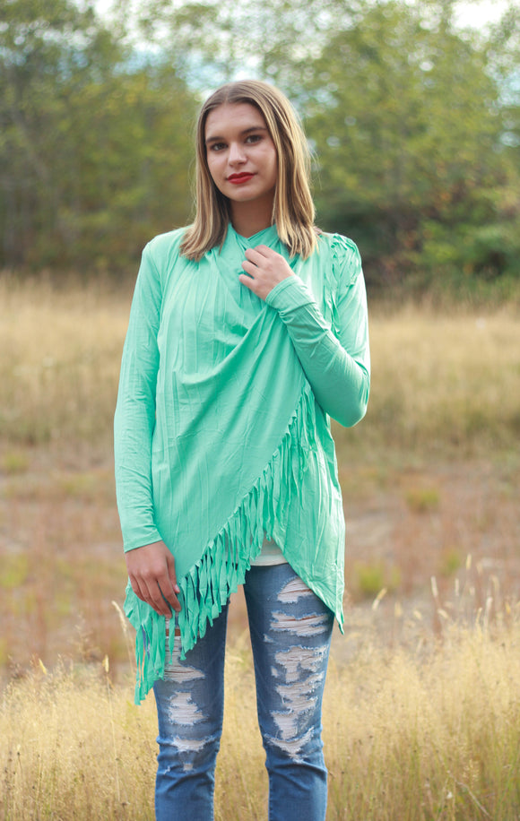 Button Fringe Cardigan