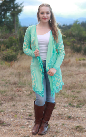 Tribal Knit Cardigan Sweater