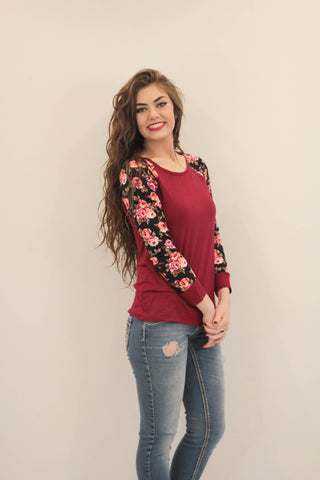 Floral Sleeve Jersey Baseball Tees