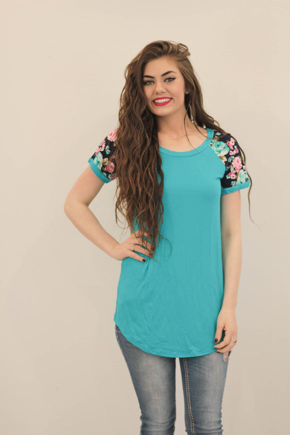Floral Sleeve Baseball Tunic