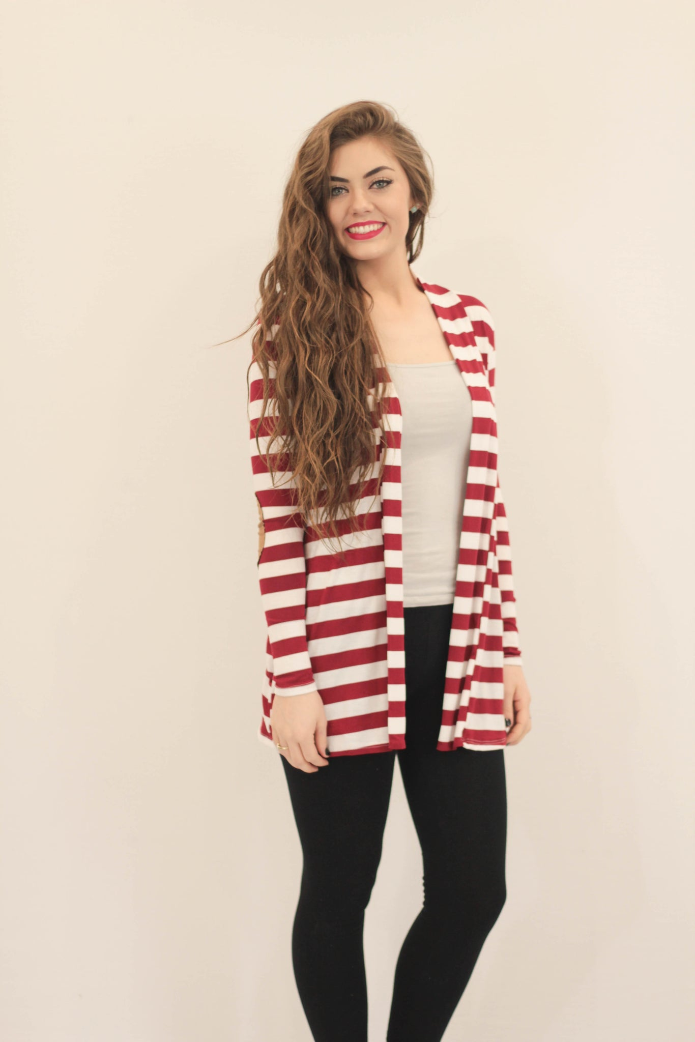 Striped Elbow Patch Cardigan