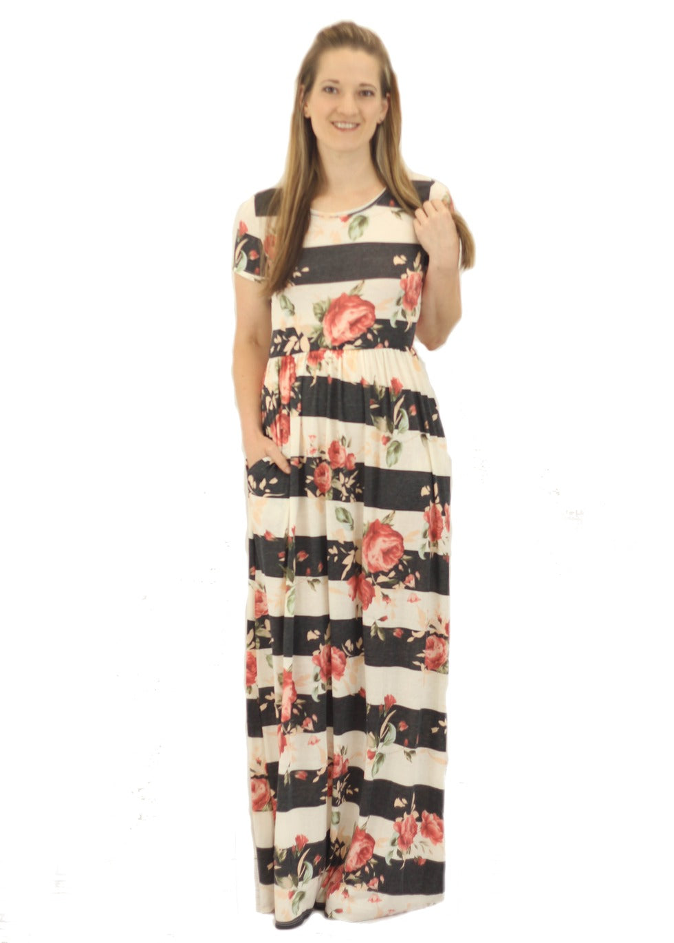 Lydia Striped Floral Maxi Dress