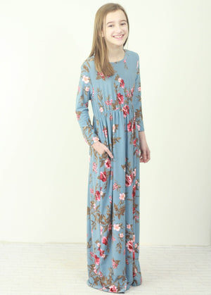 Floral Fit & Flare Maxi Dress (Kids)