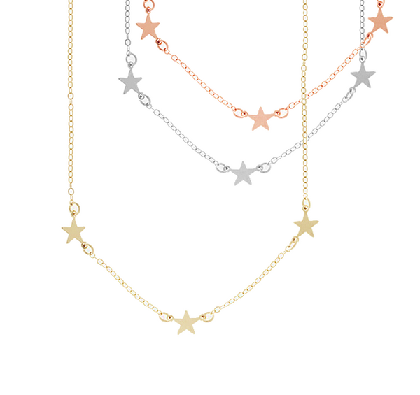 Triple Star Necklace - Gold