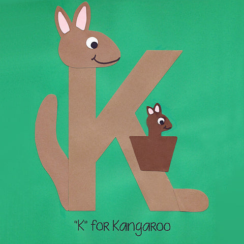 Alphabet Art Template - Upper K (Kangaroo)