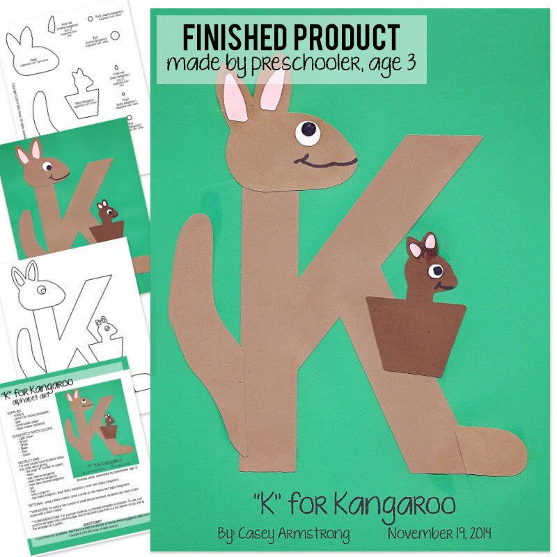 alphabet art template upper k kangaroo
