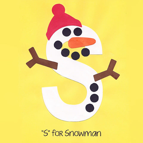 Alphabet Art Template - Upper S (Snowman)