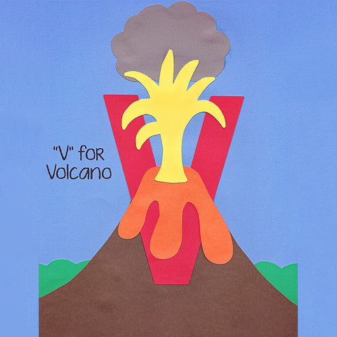 Alphabet Art Template - Upper V (Volcano)