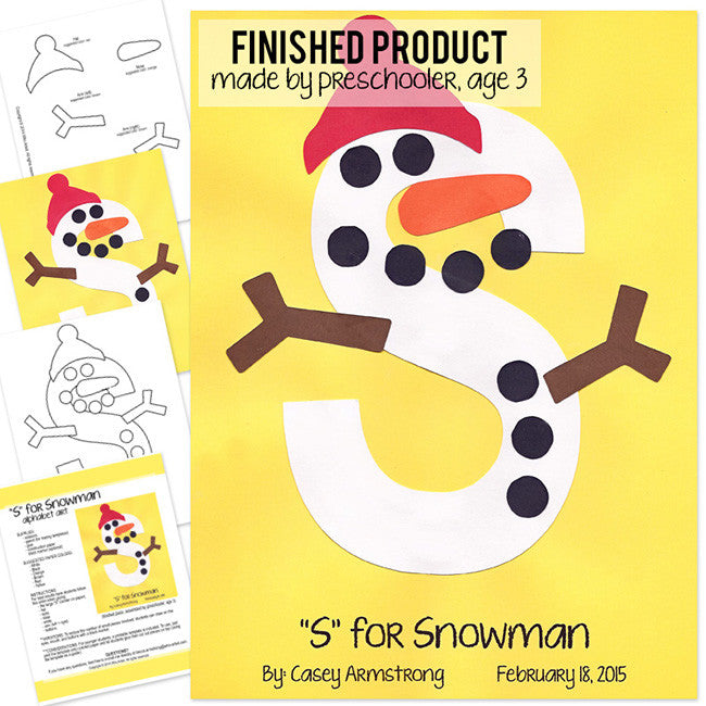 Alphabet Art Template  Upper S Snowman  Who Arted