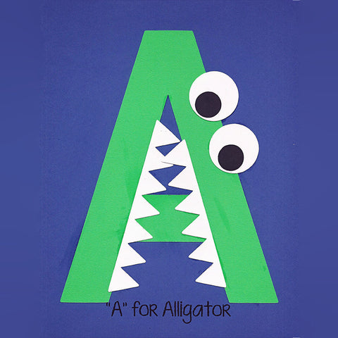 Alphabet Art Template - Upper A (Alligator)