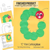 Alphabet Art Template - Upper C (Caterpillar)
