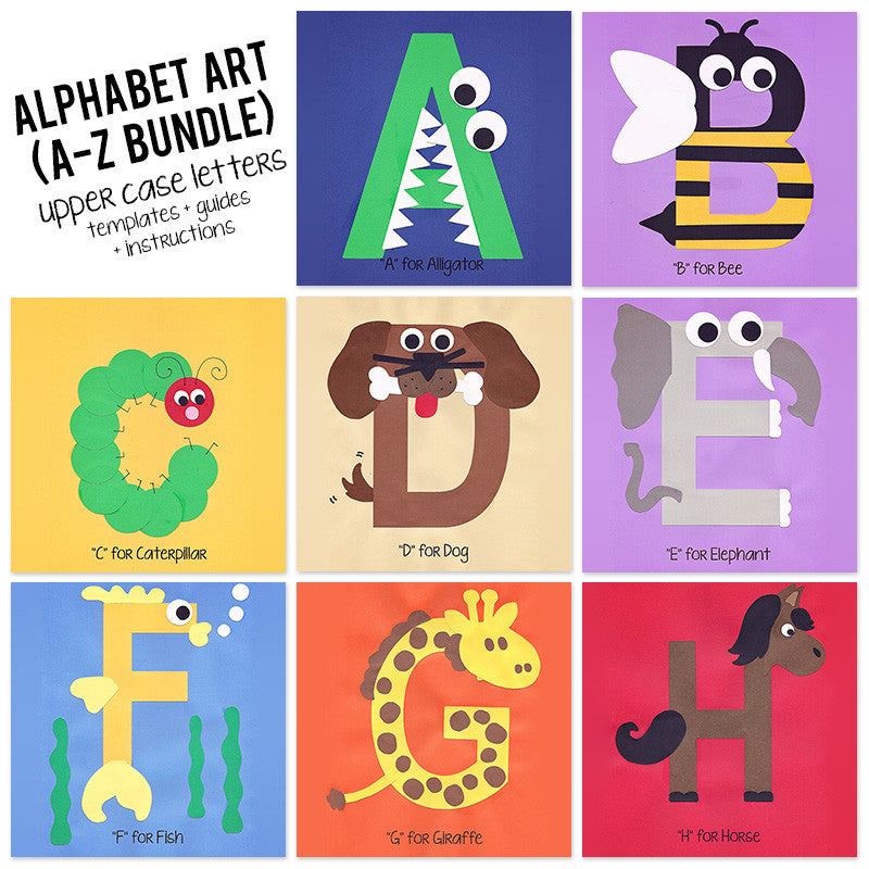 A to z alphabet art template upper case letters bundle who arted spiritdancerdesigns Gallery