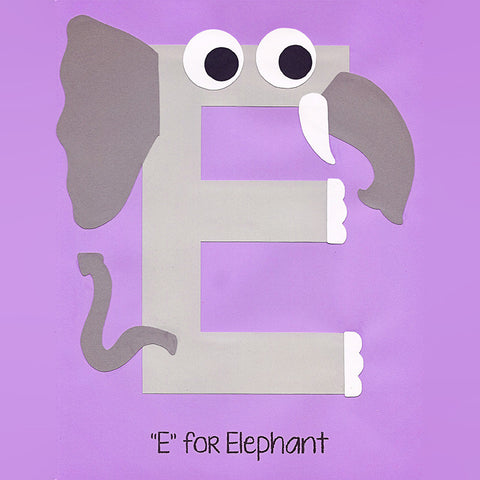Alphabet Art Template - Upper E (Elephant)
