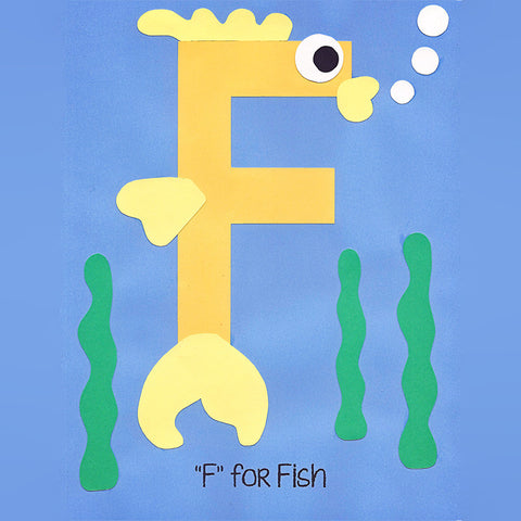 Alphabet Art Template - Upper F (Fish)