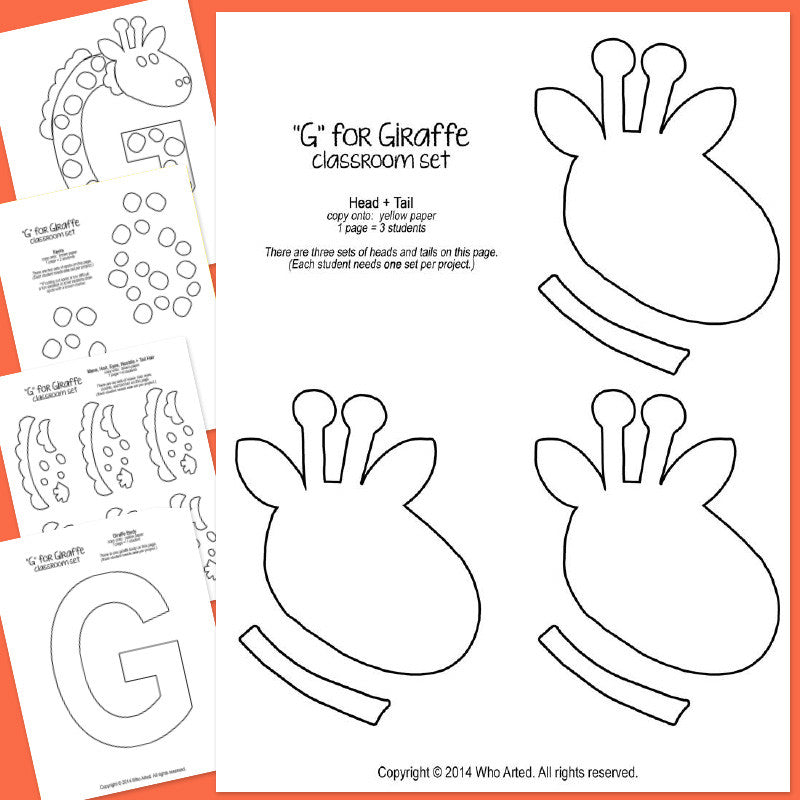 alphabet art template upper g giraffe who arted