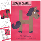 Alphabet Art Template - Upper H (Horse)